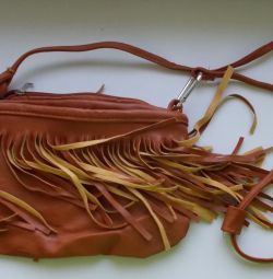 Leather handbag brown