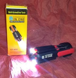Universal screwdriver with LED-backlit 8 in 1