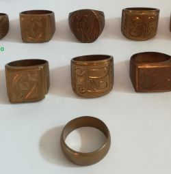 Copper signet ring, 10 different