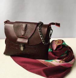Νέα τσάντα από γνήσιο δέρμα μπορντό βουργουνδίας