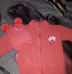 New Knitted Jacket + Hat for 1 year