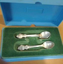 Six cupronickel spoons in a set of six pieces