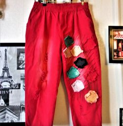 Denim Capri Coral with designer decor