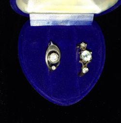 Taşlı ve topaz taşlı gümüş yüzük