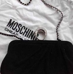 Clutch new Moschino Italy suede black rhinestones St.