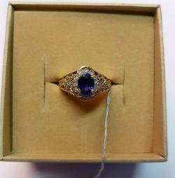 Кольцо с васильковым сапфиром и бриллиантами. Пр
