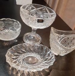 Candy holders, crystal vases