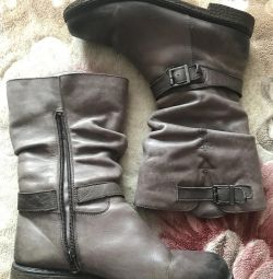Boots, half boots, leather, fur, 39