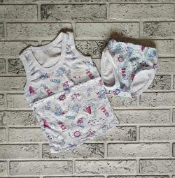 Set children's cotton sizes 1/2/3/4/5 years