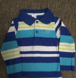 Рубашка, поло с длинным рукавом, 80-86 разм.