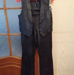 Pantaloni din piele cu vesta