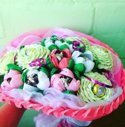Λουλούδια με γλυκά, μπουκέτα γλυκά