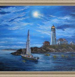 Ο πίνακας «ταξίδι με το πλοίο», το μέγεθος 40x50,