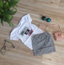 T-shirt + φούστα