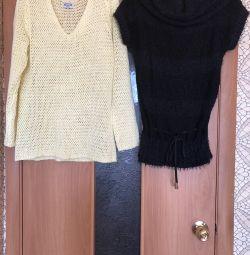 Knitted openwork tunics