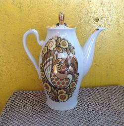Cafea oală căldură pasăre aurire Polonnoe URSS