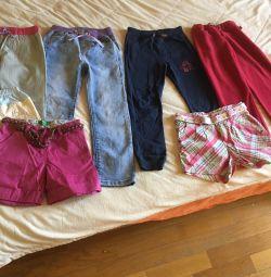 Blugi, pantaloni și pantaloni scurți pentru înălțimea 122