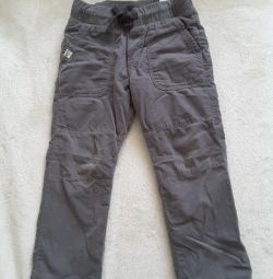 Corduroy pantaloni hm pe căptușeală. La 104 înălțime