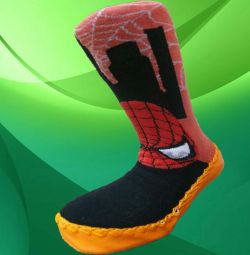Махровые носочки на кожаной подошве