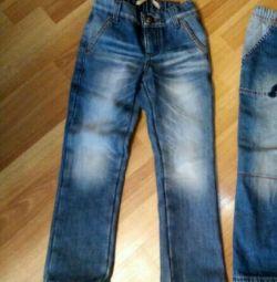 Jeans warm, on fleece, height 116