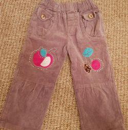 Corduroy pantaloni pentru 2-3 ani