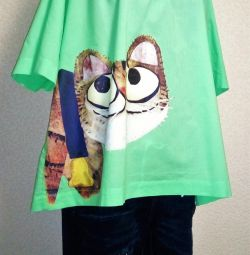 Blouses with cats, cotton 48-56 / 58