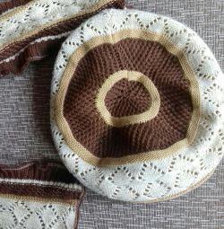 Берет с шарфом набор