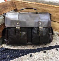 Мужской портфель из натуральной кожи премиум класс