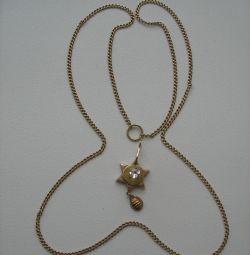 Antik kolye .. David'in yıldızı Zoloto 56 Stone