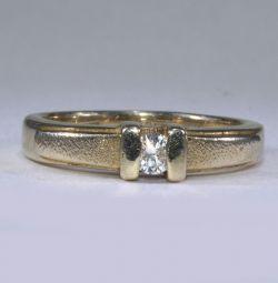 Femei din aur inel cu diamant de 16 dimensiuni