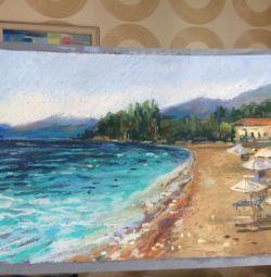 Plaja de mare. Pastel cu ulei