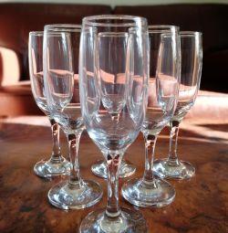 Champagne glasses new 6pcs.
