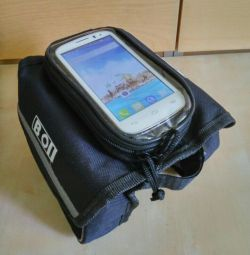 Bicycle bag new on the frame with a compartment for the phone