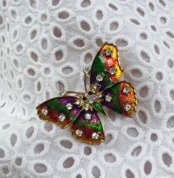 Broșă fluture cu email