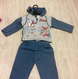 New children's suit on a fleece