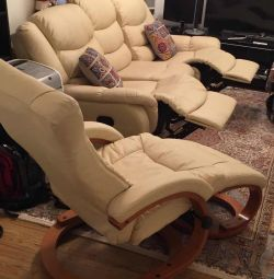Sofa with heat and vibration massage and swivel ch