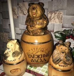 Barrels of Siberian cedar honey