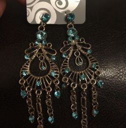 Earrings with turquoise stones.
