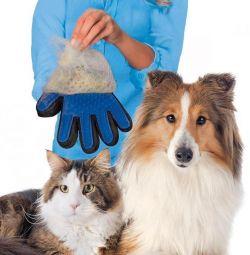 Γάντια για το χτένισμα χωρίς μαλλί. αρκετά