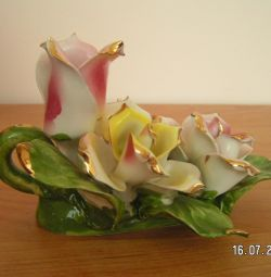 porcelain candlestick with flowers
