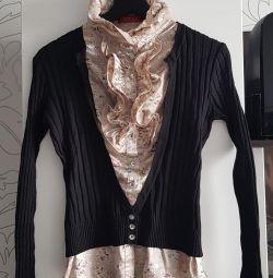 Блуза сшитая с кардиганом