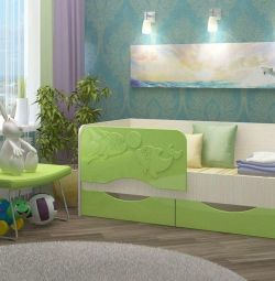 кровать с ящиками дельфин2 зеленая