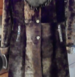 Muton fur coat, Arctic fox collar