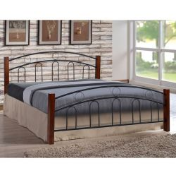 Simple Metal Wood Bed 150x200