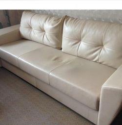 Sofa big folding of eco leather