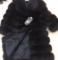 Îmbrăcăminte de blană 4in1 de la vulpe arctic cu guler