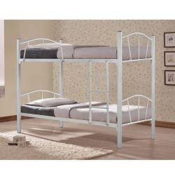 Κουκέτα Κρεβάτι Floor Μεταλλική Λευκή 90x190