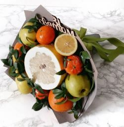 Bouquets of fruits, dried fruits, nuts