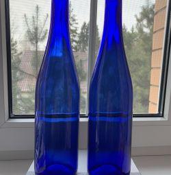 Blue glass bottles