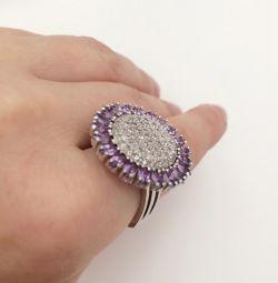 Кольцо серебро 925 с аметистами и фианитами